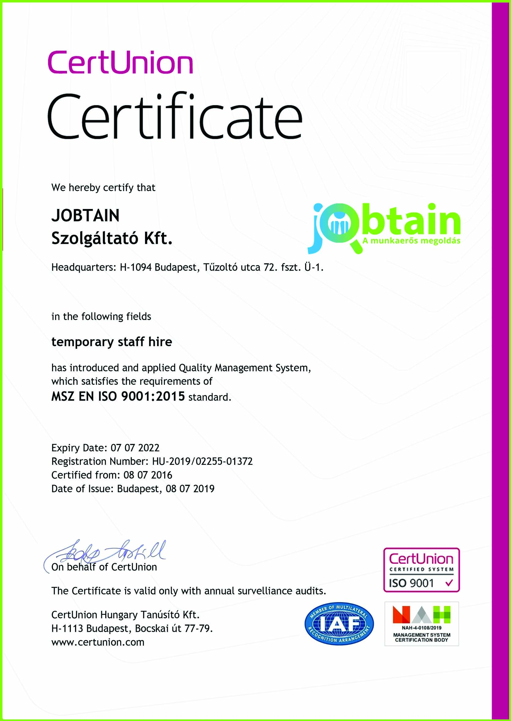 Certunion Certificate Jobtain
