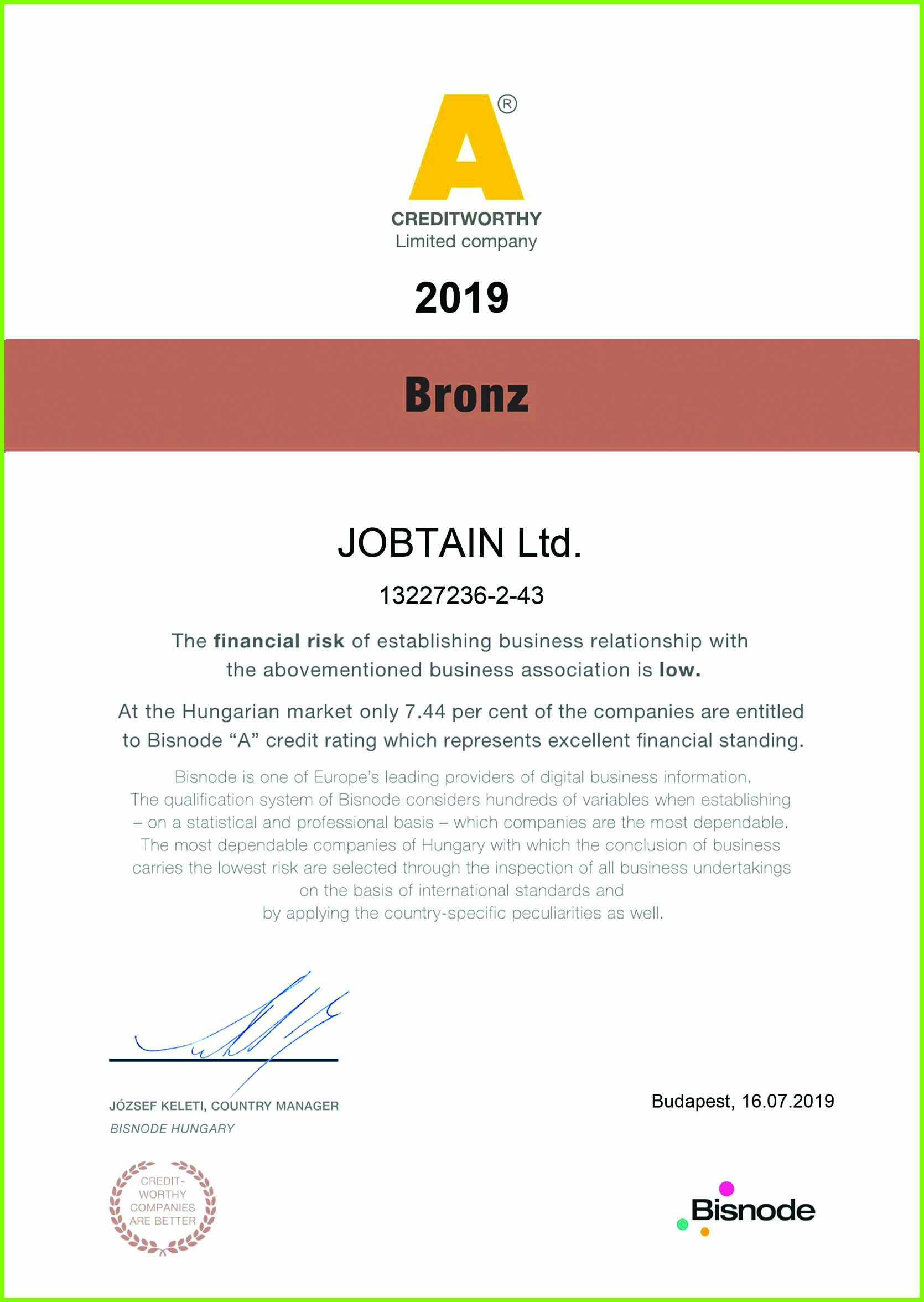 Jobtain's Credibility rating