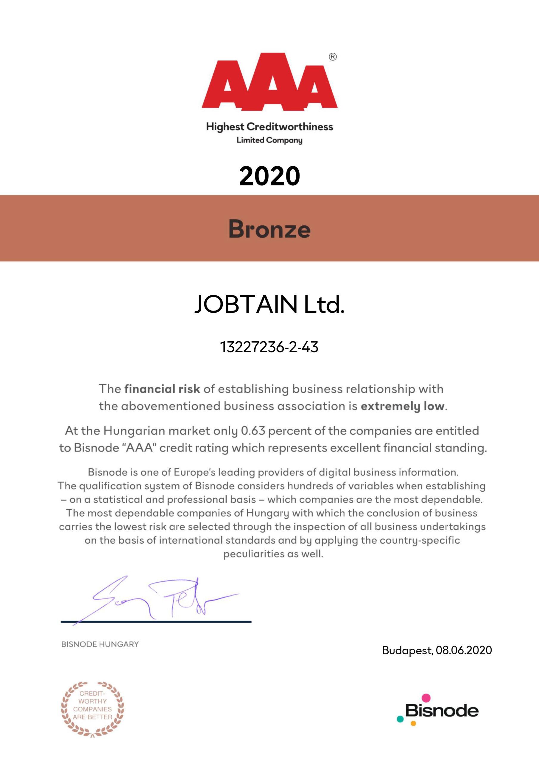 Jobtain Bisdone Certificate